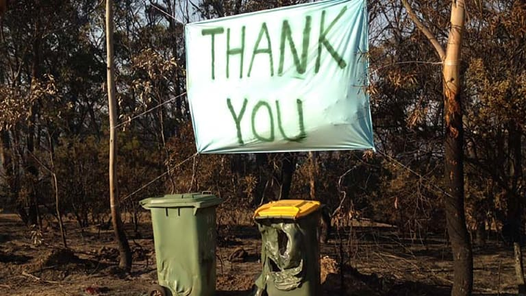 A 'thank you' sign along Bells Line of Road in Dargan.