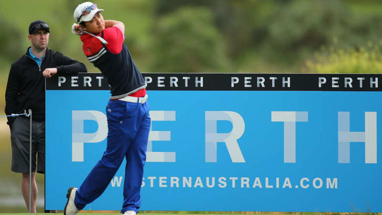 Jin Jeong of Korea tees off on the 3rd hole during day three of the Perth International at Lake Karrinyup Country Club on October 19, 2013 in Perth, Australia.
