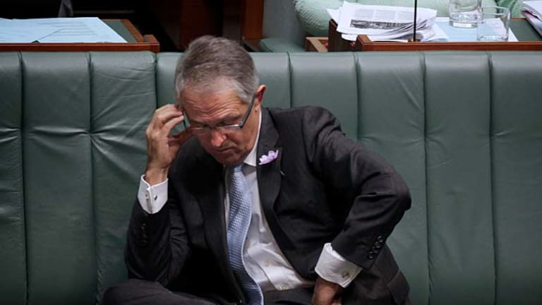 Malcolm Turnbull during question time in Parliament after he copped an emailed lecture from the chief Whip, Warren Entsch.
