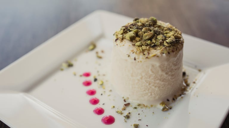 Daana is a South Indian restaurant located at Curtin. Dish: Pista Kulfi.