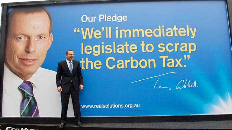 """Backtrack ... Tony Abbott has admitted that the carbon tax is a """"python squeeze rather than a cobra strike."""""""
