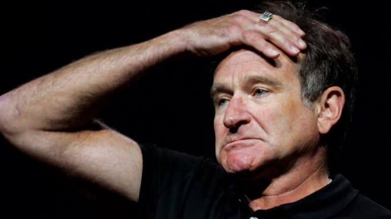 Robin Williams performing.