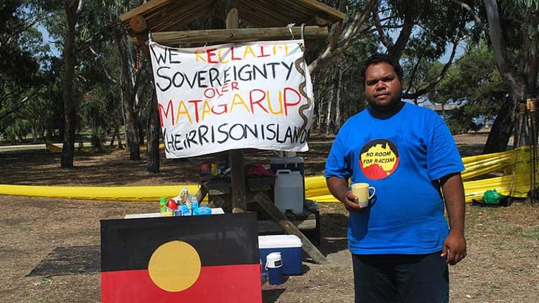 Cyril Yarran is among the protesters to set up a tent embassy at Heirisson Island in Perth.