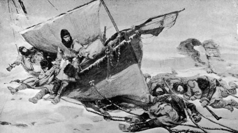 Doomed ... Members of the arctic expedition, circa 1847, led by British explorer Sir John Franklin (1786 - 1847) on their attempt to discover the Northwest passage. From a painting by W Turner Smith.