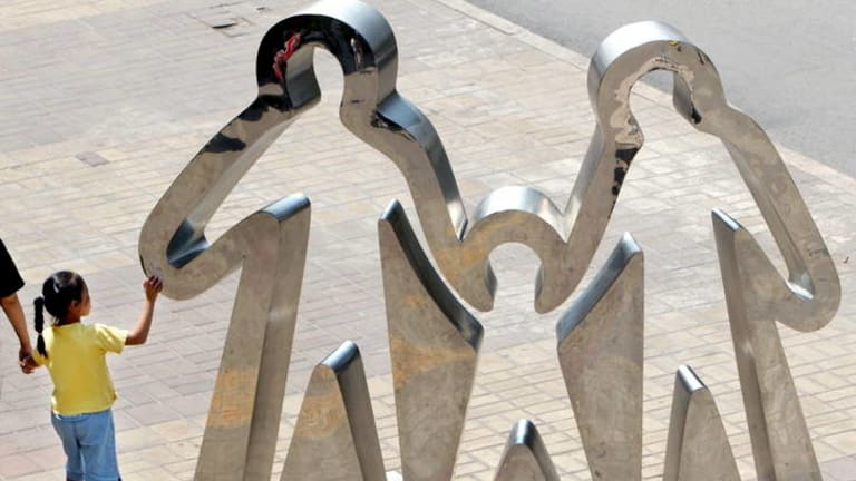 A sculpture promoting China's one-child policy in Beijing.