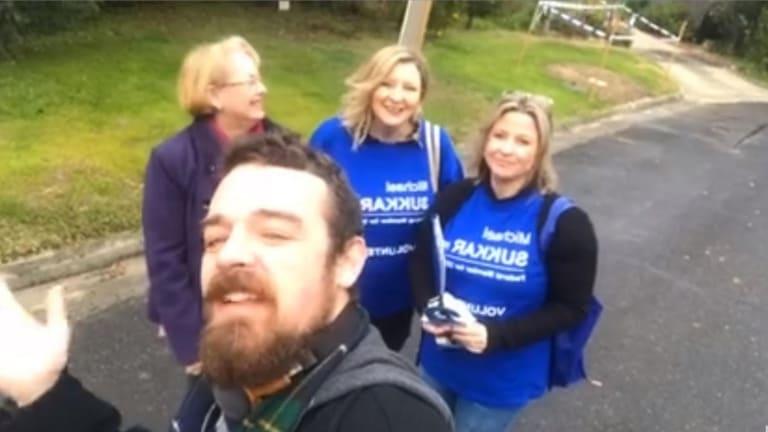 Marijke Rancie (far right) and fellow Liberals campaigning for federal MP Michael Sukkar.