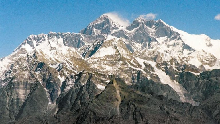 Mount Everest in the Himalayas.