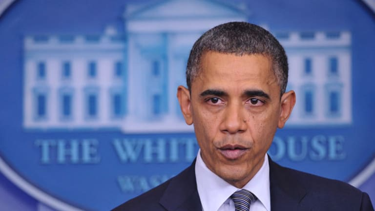 US President Barack Obama speaks during a previously unannounced appearance in the Brady Briefing Room of the White House on December 14, 2012 in Washington, DC.