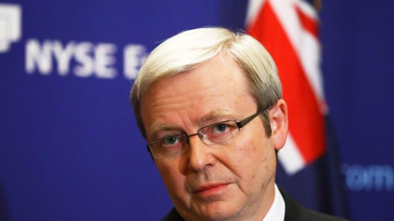 Kevin Rudd speaks at the New York Stock Exchange trading floor.