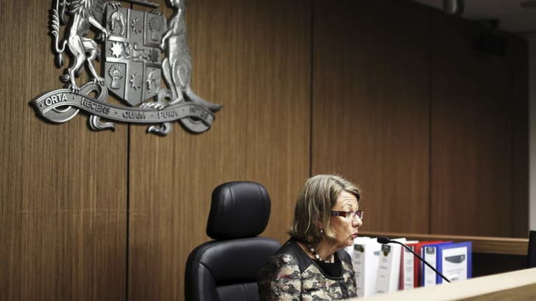 ICAC Commissioner the Hon Megan Latham during the opening address for the investigation into Australian Water Holdings and the conduct of several ministers.