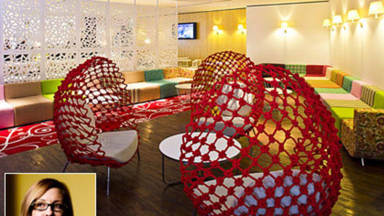 Break-out spaces ... The Westpac contact centre in Epping, Sydney. Inset: Angela Sampson from Geyer.