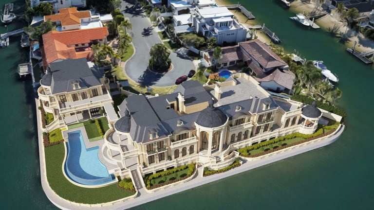Artist's rendition of the faux chateau to be built on a $9.2 million block of land on the Gold Coast for railway tycoon Wen Bingrong.