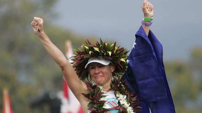 Mirinda Carfrae celebrates her win in 2013.