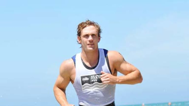 Joel Selwood in Sunday's Pier to Pub race at Lorne.