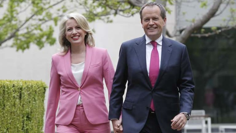 ALP leader Bill Shorten with his wife, Chloe, after winning the ballot on Sunday.