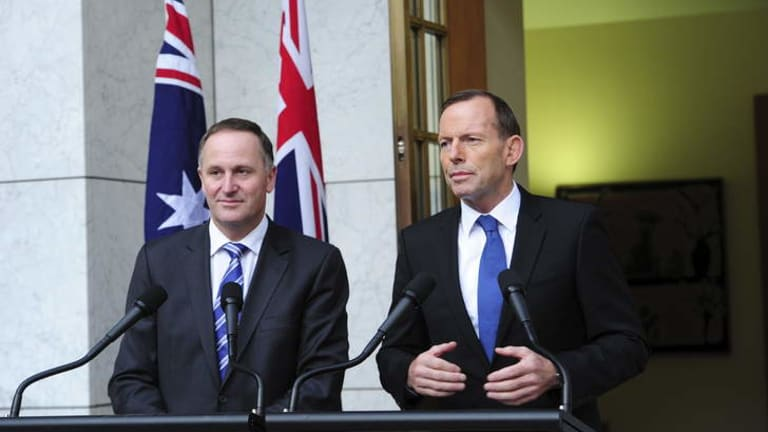 Close ties: New Zealand Prime Minister John Key with Tony Abbott.