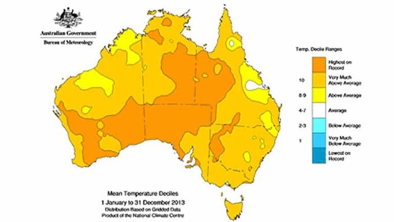 Australia's heat in 2013: no region below average. Souce: BoM