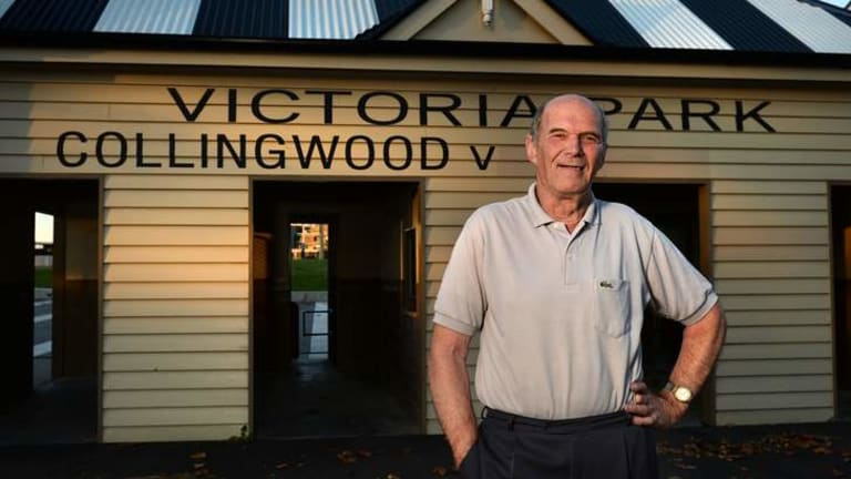 Long time Collingwood Fan and former scoreboard attendent Bob Hill at the turnstiles at Victoria Park.