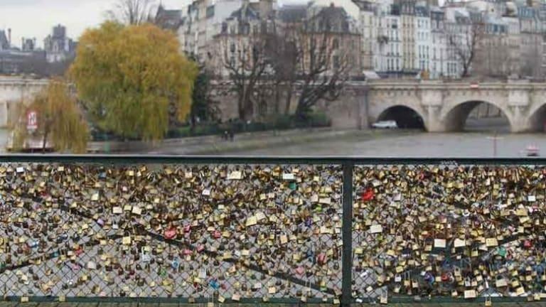 The love locks on the Pont des Arts bridge in Paris.