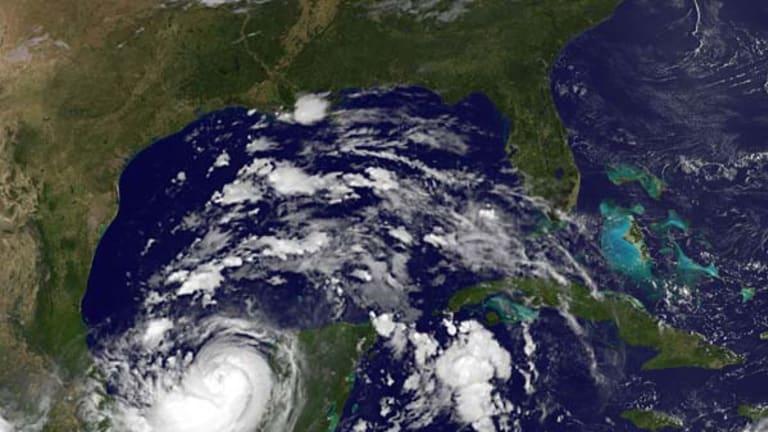 A satellite image of Hurricane Karl as it comes ashore on Mexico's Yucatan Peninsula.
