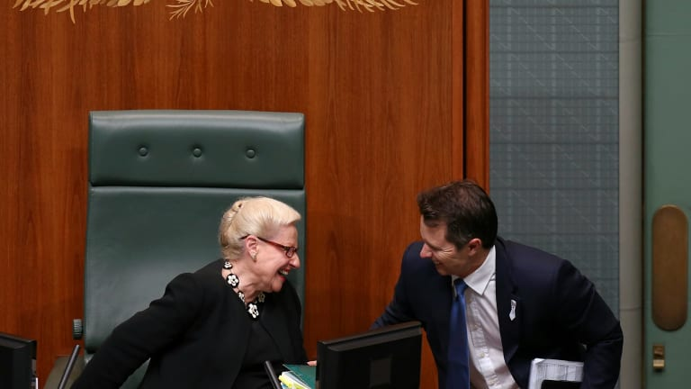 Opposition communications spokesman Jason Clare talks with Speaker Bronwyn Bishop on Tuesday.