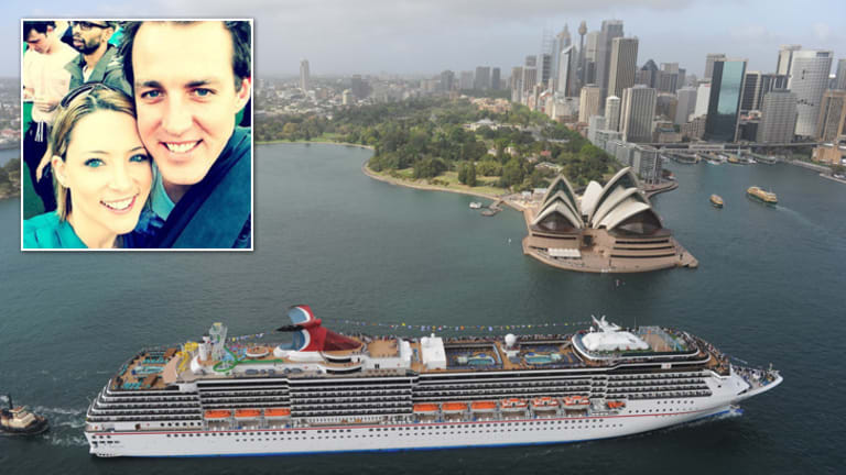 Rough seas: Kristen Schroder and Paul Rossington (inset) went overboard on the Carnival Spirit.