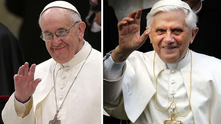 Historic: Pope Francis (left) is set to meet his predecessor Benedict XVI.