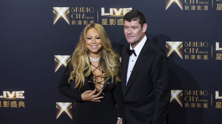 Crown's major owner James Packer (right) with his fiancee, pop diva Mariah Carey.