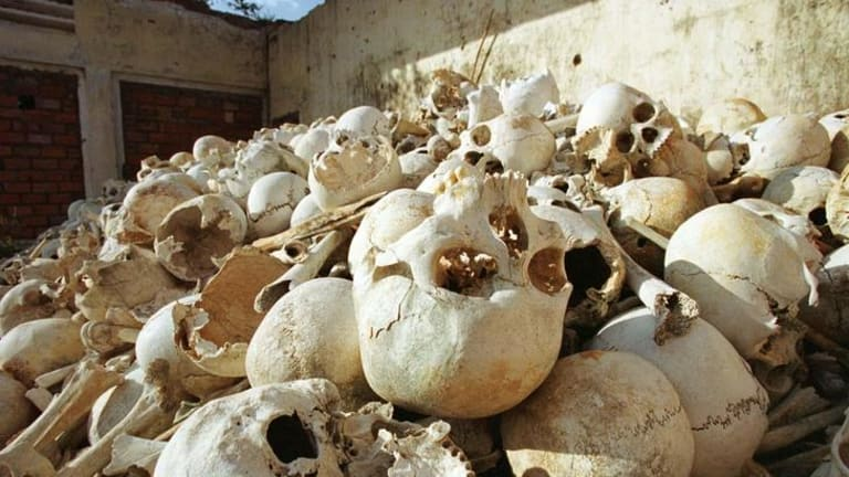The remains of Cambodians killed by Pol Pot's Khmer Rouge regime lie in an abandoned school 40km south of Phnom Penh.