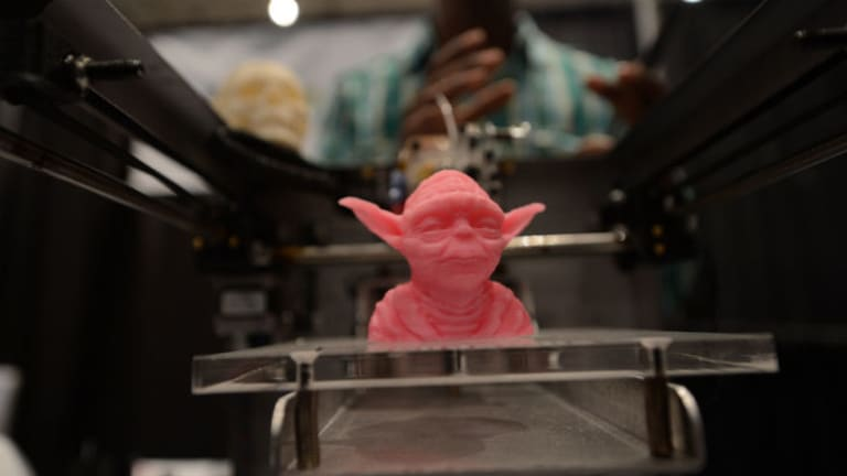 """A sample object, printed with a 3D printer, is displayed during the """"Inside 3D Printing"""" conference and exhibition in New York."""