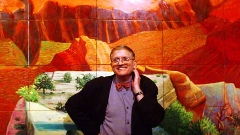 Artist David Hockney in front of his painting A Bigger Grand Canyon which was purchased by the National Gallery in 1999.