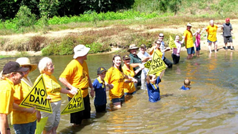 No dam ... Mary River locals celebrate Peter Garrett's decision to reject the Traveston Crossing Dam proposal this afternoon.