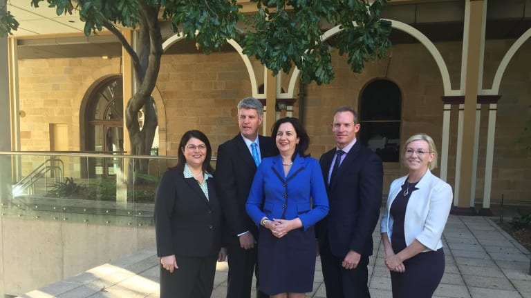 Premier Annastacia Palaszcauk with her new ministers. From left are Grace Grace, Stirling Hinchliffe, Ms Palaszczuk, Mick de Brenni and Leanne Donaldson.