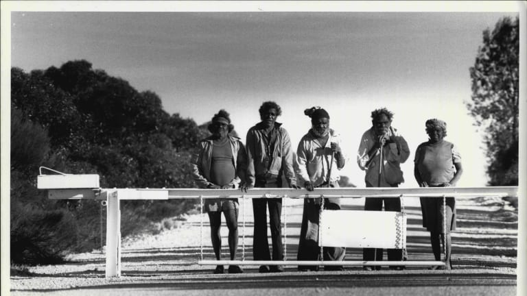 Councillors and elders of the Yalata Aboriginal community, at the Barrier gate, on the Southern access to Maralinga in 1984.