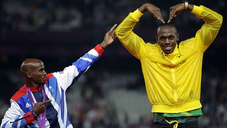 Starring roles ... Jamaica's Usain Bolt and Great Britain's Mohamed Farah imitate each other's trademark celebrations.