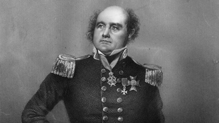British Naval Officer and Arctic explorer Sir John Franklin (1786 - 1847) who died on an expedition to navigate the North West Passage. Original Artwork: Engraving by D J Pound. Drawing by Negelen.
