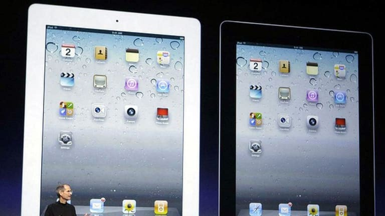Apple CEO Steve Jobs presents the iPad 2