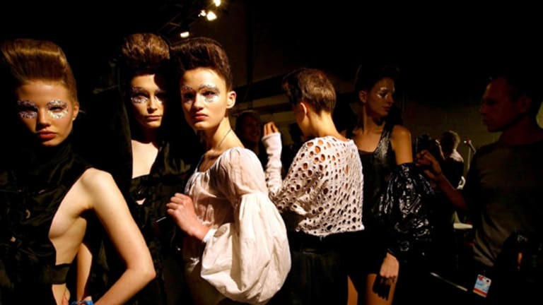Feeling the pinch ... models at the Konstantina Mittas show.
