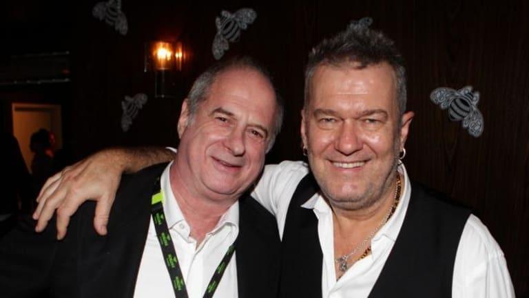 Jimmy Barnes, right, with the godfather of Australian rock'n'roll, Michael Gudinski, in 2013