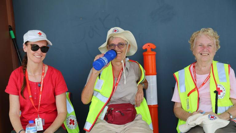 Red Cross volunteers during Cyclone Debbie in Queensland last year.