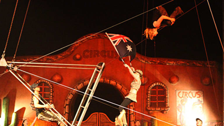 Webers Circus performs the Russian Swing. Circus life in Australia is a family affair.