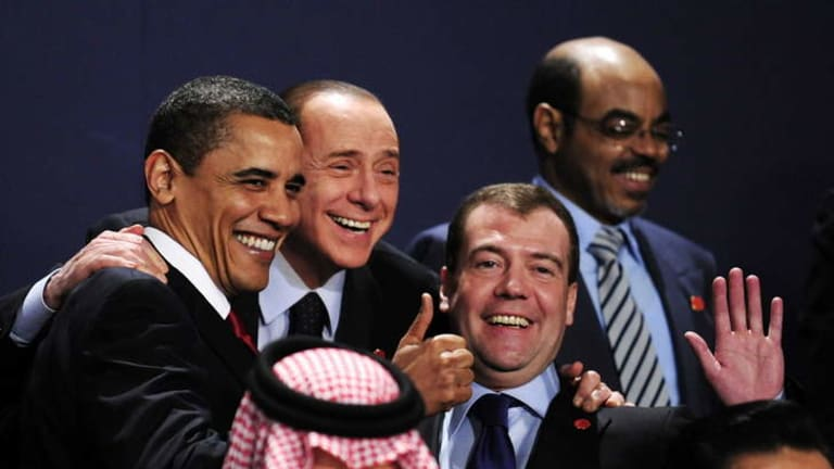 Spied: World leaders at the G20 summit in London in 2009, at which they were eavesdropped on by British intelligence.