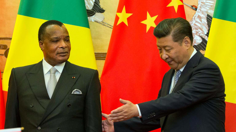Republic of Congo President Denis Sassou Nguesso, left, pictured with Chinese President Xi Jinping.