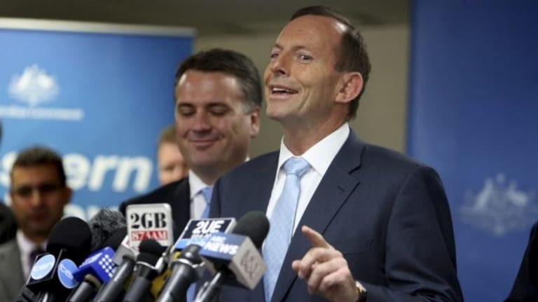 """Prime Minster Tony Abbott responds to a journalist's question about """"corruption"""" in the NSW state government."""