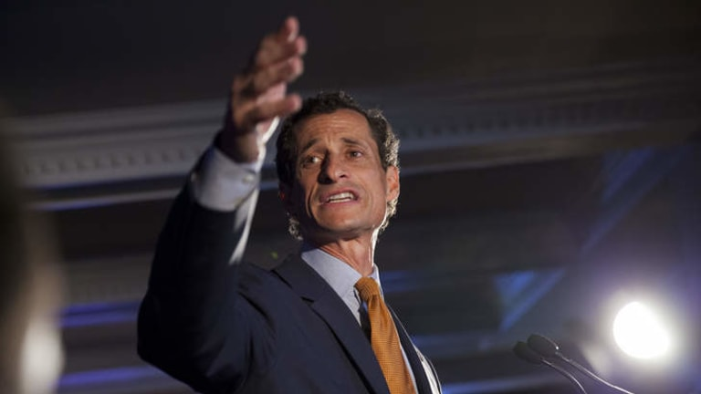 Democratic mayoral hopeful Anthony Weiner makes his concession speech at Connolly's Pub in midtown Tuesday, September 10, 2013 in New York.