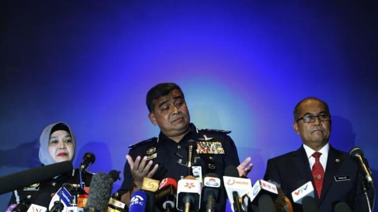 Malaysia's police chief, Inspector General Khalid Abu Bakar, addresses a news conference.