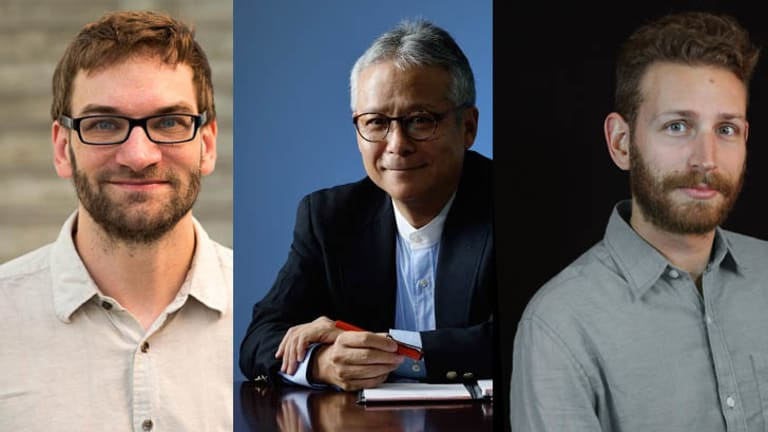 MIT PhD researchers Sean Follmer, left, and Daniel Leithinger, right, along with Professor Hiroshi Ishii of MIT's Tangible Media Group, centre.