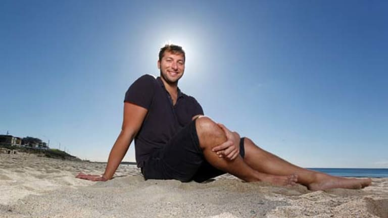 Superfish out of water ... former Olympic champion Ian Thorpe on Cronulla Beach.