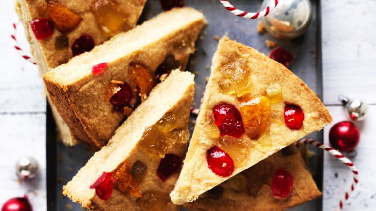 Brown sugar shortbread with glace cherries.