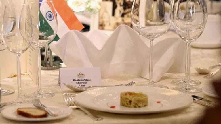 No show: The place set for Gautam Adani who failed to attend lunch with Prime Minister Tony Abbott in Mumbai on Thursday.